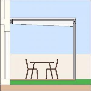 Das Sonnensegel VELUSOL 110K ist besonders für Dachterrassen geeignet, da es das Regenwasser über eine Regenrinne ableitet.